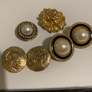 Vintage earrings and pins including Ann Taylor